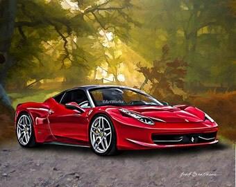 Supercar Print - Ferrari 458 - Sports Car Print -  8x10 Giclee Print, 11x14 White Mat, AW62