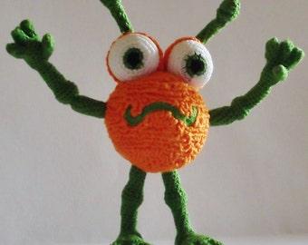 Bonnie's Crochet Cotton Thread Item  Green/Orange tiny Monster  Doll /Not A Toy