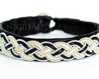 SwedArt B16 Cloudberry Lapland Sami Leather Bracelet-Pewter and Silver Braid-Antler Button-Black-Off White SMALL