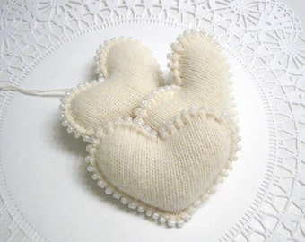 Beaded Heart Valentines Ornaments Handmade from Felted Cashmere Wool Sweaters (no406)
