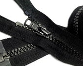 "YKK Vislon 5mm- Available in lengths from 3"" to 36""~ Molded Plastic Chunky Teeth SEPARATING Sports Zippers- (1) Piece- Black 580~Zipperstop"