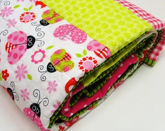 """ladybug baby quilt - ''Garden Friends""""- baby girl quilt in pink, green and white READY TO SHIP"""