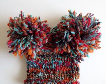 SALE Autumn Sky Newborn Pom Pom Knit Hat Handspun Handdyed Wool Tencel