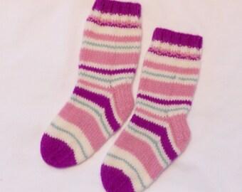 Socks - Wool Hand Knit Socks Woman 7-8  100% Wool