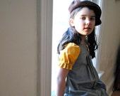 French Girls Dress - Gold and Gray - Retro Style Dress with Box Pleats - Kids Fashion