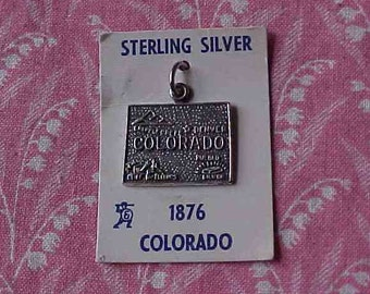 SALE! One Vintage Sterling Colorado State Map Travel Charm on Original Sales Card