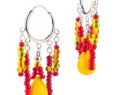 Red and Yellow Fulani Wedding Hoops - RAMJewelryDesigns