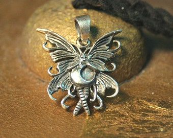 Darling Fairy Pendant antiqued 925 Sterling Silver Amulet Charm