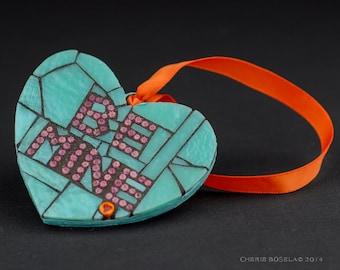 Be Mine Candy Heart Mosaic Wall Art