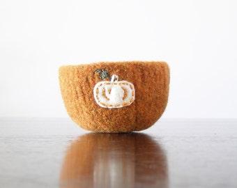 from the pumpkin patch - orange felted wool bowl with eco felt white pumpkin - kitchen decor, ring dish, minimalist, centerpiece