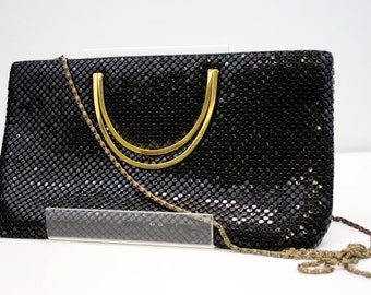 Vintage Black Chain Mail Evening Bag with Gold Handles
