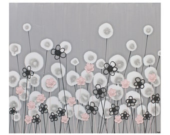 Modern Nursery Art in Gray and Pink - Textured Flower Canvas Painting - Small 24x20