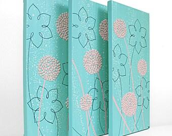 Aqua Nursery Painting - Textured Flower Canvas Art Triptych - Aqua and Pink - Medium 32x20