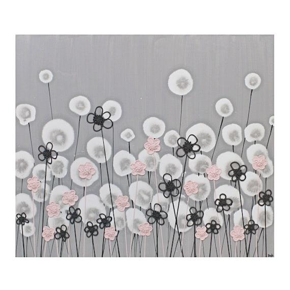 Современная Детская Искусство в серого и розового - текстурированные Цветок Живопись на холсте 24x20