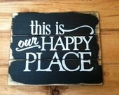 "this is my Happy Place hand-painted wood sign 13""w x 10 1/2""h"