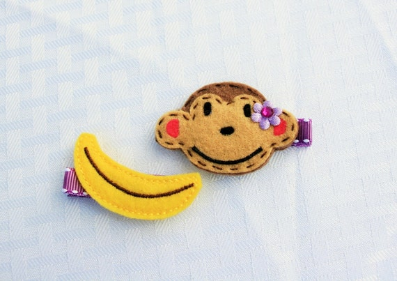 SALE-- Maddy the Monkey Loves Bananas Clippie Set, hair clips