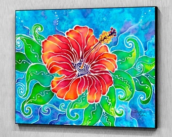 Tropical Hibiscus Art Wood Wall Panel, Ready to Hang