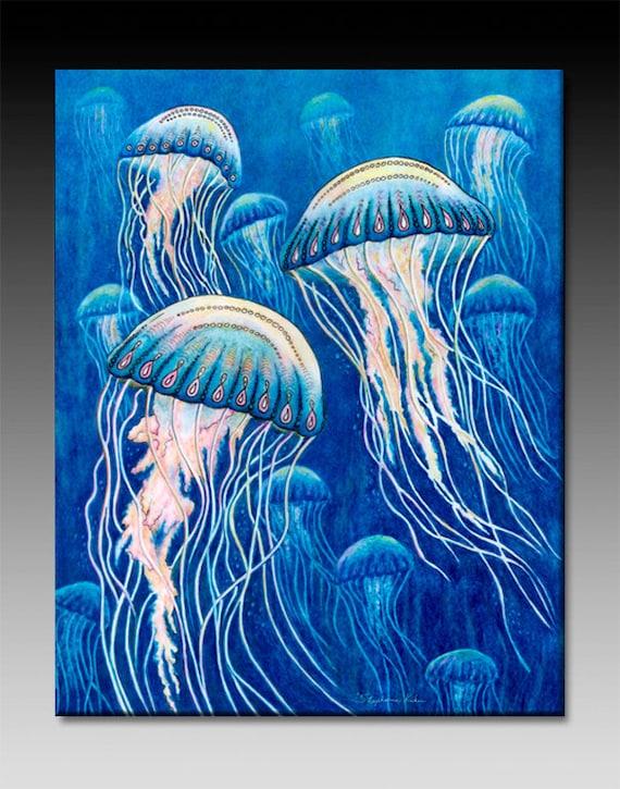 Jellyfish Ceramic Tile Wall Art
