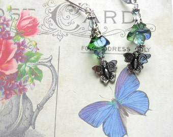 Czech Beads,Butterfly Earrings, Flower Earrings, Blueberry Green Flower Bead,, Antique Silver Butterflies, Leverbacks