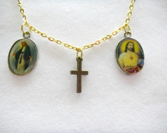 Gold Chain With Religious Medals