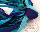 Hand Dyed Silk Ribbon - Silky Ribbon - Fairy Ribbon - Jewelry Supplies - Wrap Bracelet - Craft Supplies - Dark Teal Blue Color Palette