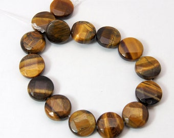 Tigers Eye - Coin Beads - Sold per strand - #BST1111