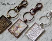 20 Photo Key Chain Kits - 25 x 35mm Rectangle Pendant Trays with Matching Glass and Lobster Clasp Key Chains - Choice of Colors