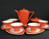 Atomic Art Deco Coffee Set for 4: Salem Tricorne / Streamline Coffee Pot, Cups, Saucers, Cream & Sugar Set, in Great-to-Good Condition
