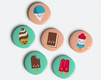 Ice Cream Pals 1 inch magnet set of 6 ice cream, snow cone, popsicle and more