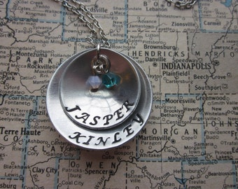 The Nancy Necklace - Custom Hand Stamped 2 Tier Necklace - Domed