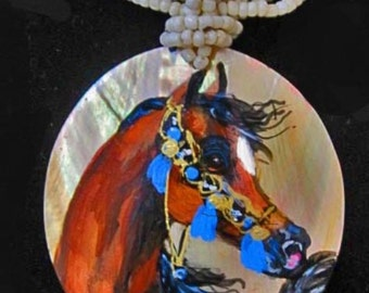 Arabian horse art handpainted necklace on Mother of pearl bay 2