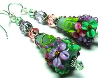 Floral Cone Earrings Lampwork Earrings Green Earrings Floral Earrings Flower Earrings Glass Earrings Artisan Earrings Beaded Earrings