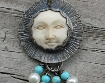 Carved Bone with Pearls Turquoise Sterling Silver Necklace