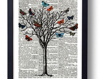 Original Art Print on A Vintage Dictionary Book Page / Tree and Butterflys / Butterflies