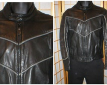 80s black leather jacket by Vetter mens size 42