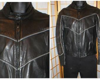Vtg 90s black leather cafe racer motorcycle jacket by Vetter mens size 42
