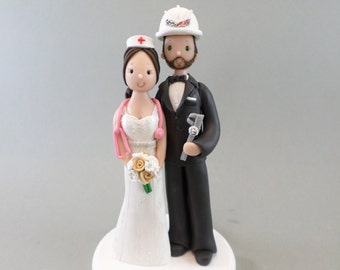 Personalized Nurse & Engineer Wedding Cake Topper