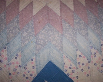 Antique Cutter Quilt Pc,Texas Star Pattern,Lots of Blues