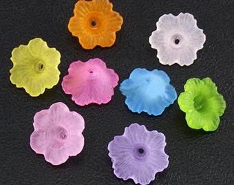 Vintage 100+/- Multi-Colored Gorgeous Flower Beads 11MM AL4
