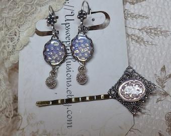 Opal Moonstone Earrings ~ Vintage Glass ~ Antiqued Silver ~ SET
