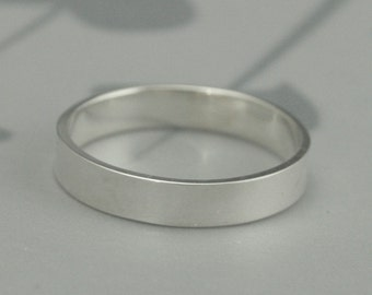The Straight and Narrow 4mm Wide Band--Flat Edge Solid Sterling Silver Band--Modern Sterling Silver Wedding Band