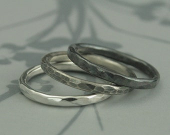 Ombre Silver Lava Set--Solid Sterling Silver Hammered Stacking Ring Set of 3 Bands--Hammered Silver Bands