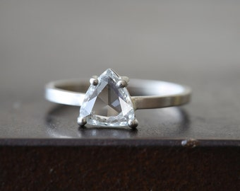 Natural Clear-White Rose Cut Trillion diamond Ring
