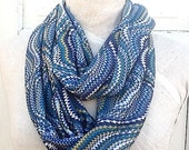 Blue Scarf, Silky Knit Scallop in Lagoon, Teal and Cream, Womens Accessories
