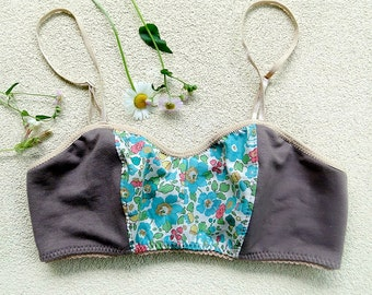 Grey organic bralette, organic cotton lingerie, custom made
