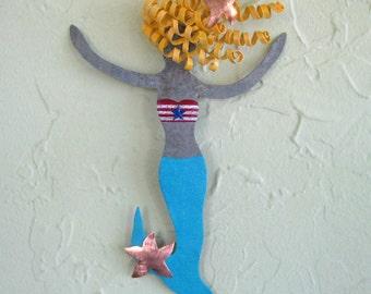 Mermaid metal wall art marine ocean beach house decor - Pearl - bathroom coastal kids metal wall sculpture blonde