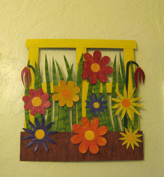 Kitchen Metal Wall Decor: Flower Wall Art Metal Sculpture Kitchen Wall Decor Window