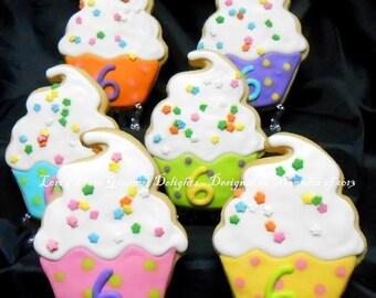 Cupcake Cookies - Sparkle Cupcakes - Cupcake Cookie Favors - 12 Cookies