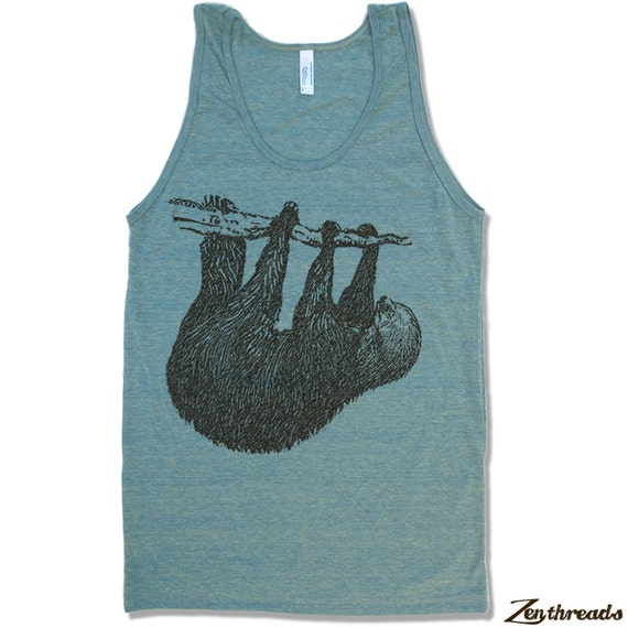 Unisex Tree SLOTH Tri Blend Tank Top american apparel XS S M L XL (7 Colors)