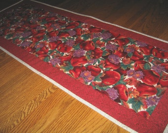 Last One - Quilted Table Runner with Red Apples